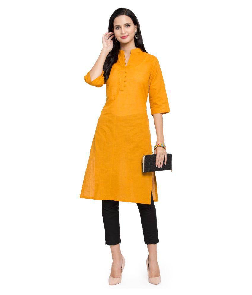 AARSHA Orange Cotton Straight Kurti