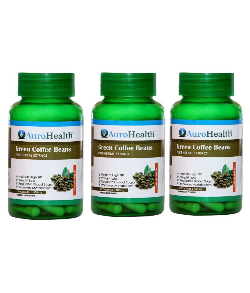 AuroHealth Green Coffee Beans for Weight Loss Capsule 180 no.s Pack of 3