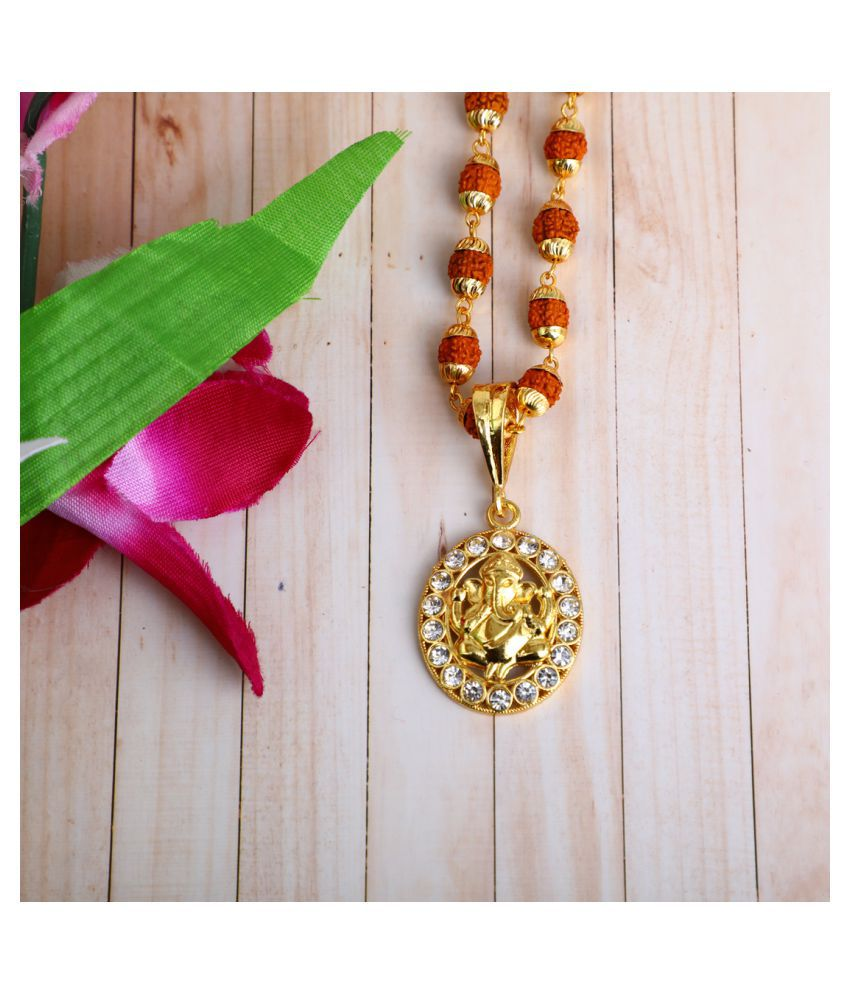 DIPALI Imitation Rudraksh Mala With Gold Plated GANPATI Inspired Pendant Set For Men BoyS
