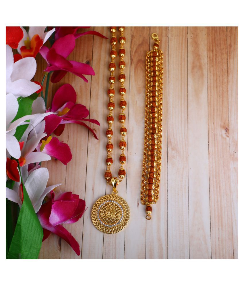 DIPALI Imitation Rudraksh Mala With BRACLET Gold Plated JAY MAHAKAL Inspired Pendant Set For Men BoyS