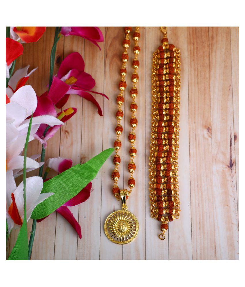 DIPALI Imitation Rudraksh Mala With BRACLET Gold Plated SURYA DEV WITH OM  Inspired Pendant Set For Men BoyS