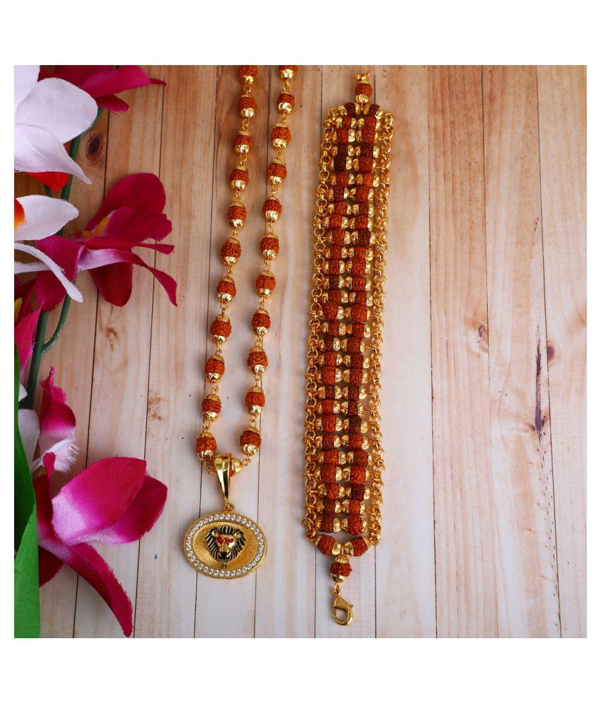 DIPALI Imitation Rudraksh Mala With BRACLET Gold Plated LION Inspired Pendant Set For Men BoyS
