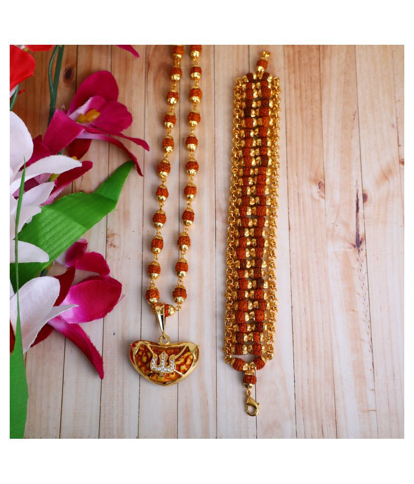 DIPALI Imitation Rudraksh Mala With BRACLET Gold Plated TRISHUL Inspired Pendant Set For Men BoyS