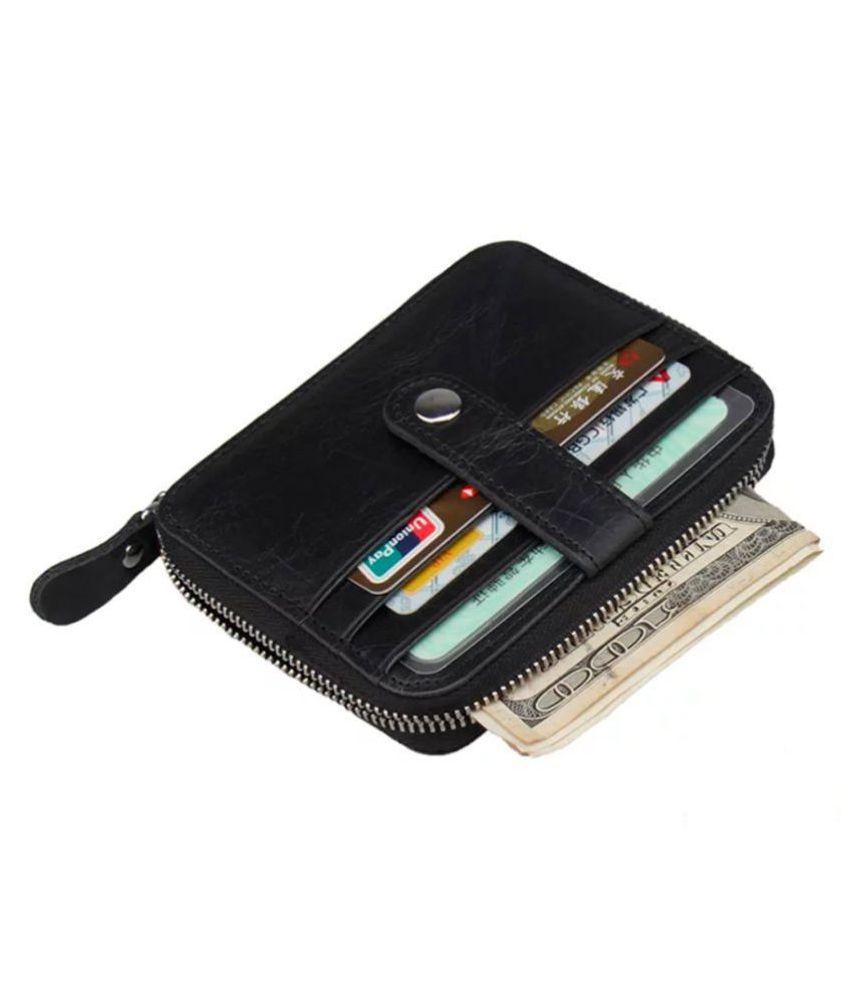 Hide&Sleek Genuine Black Leather RFID Protected Card Holder Zipper Clouser
