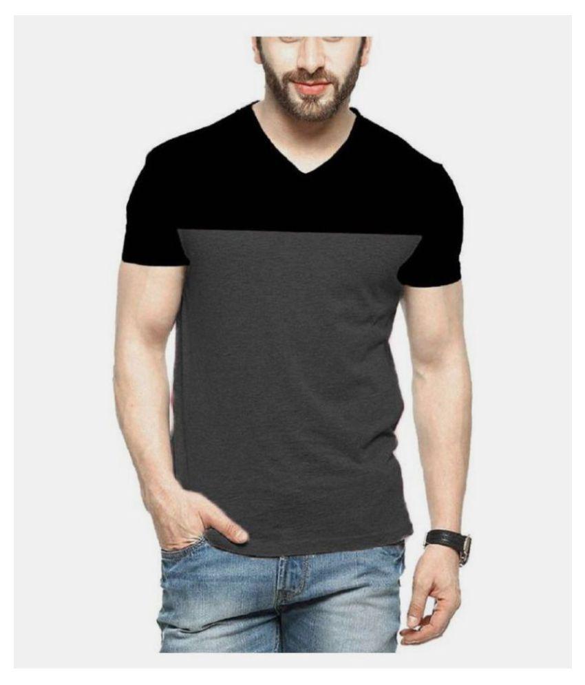 Veirdo 100 Percent Cotton Grey Color Block T-Shirt