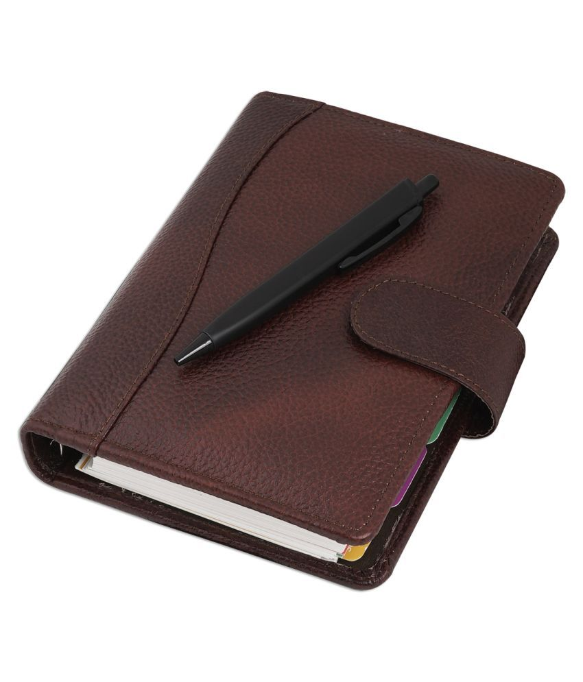 COI Brown Daily Dated Organizer/Unique A5 Faux Leather New Year 2020, Multiple Pocket Card, Document and Pen Holder for Mom and Dad with Pen.