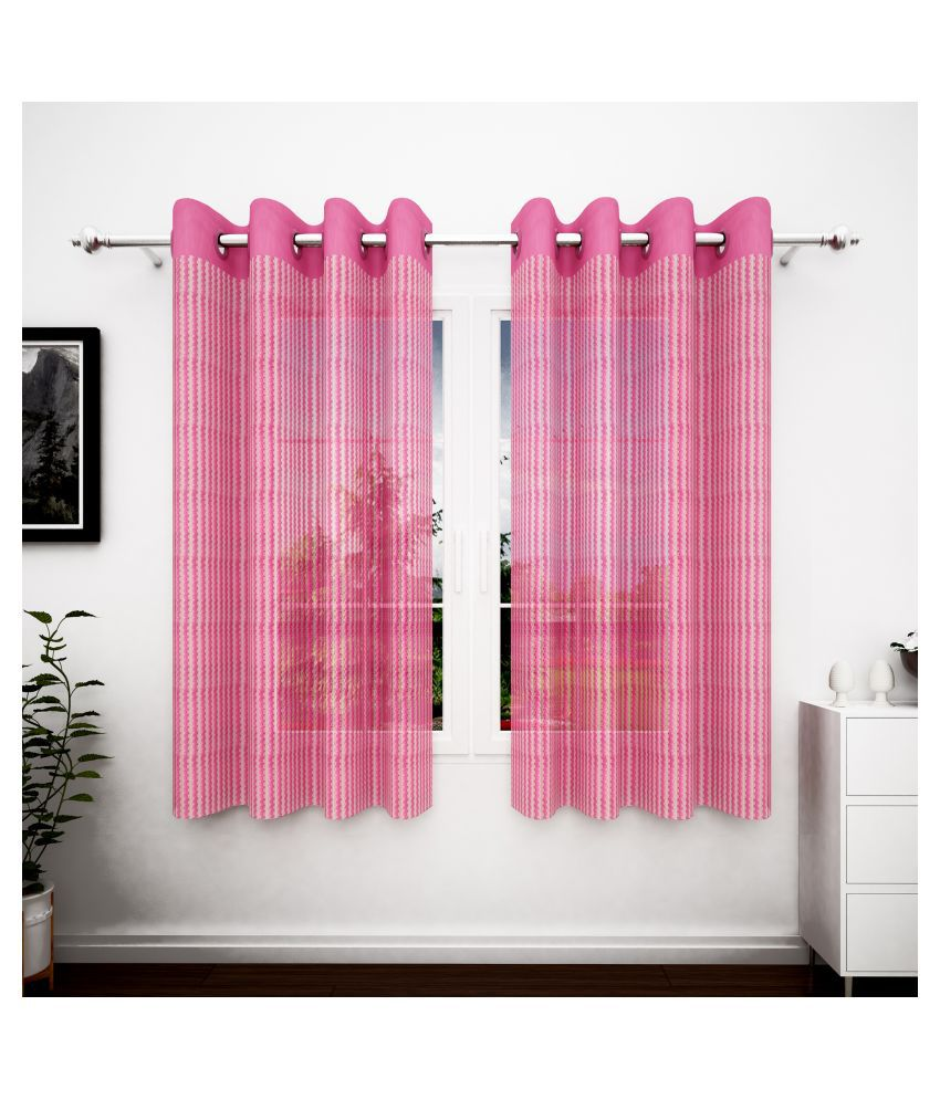 Story@Home Set of 2 Window Transparent Eyelet Polyester Curtains Pink