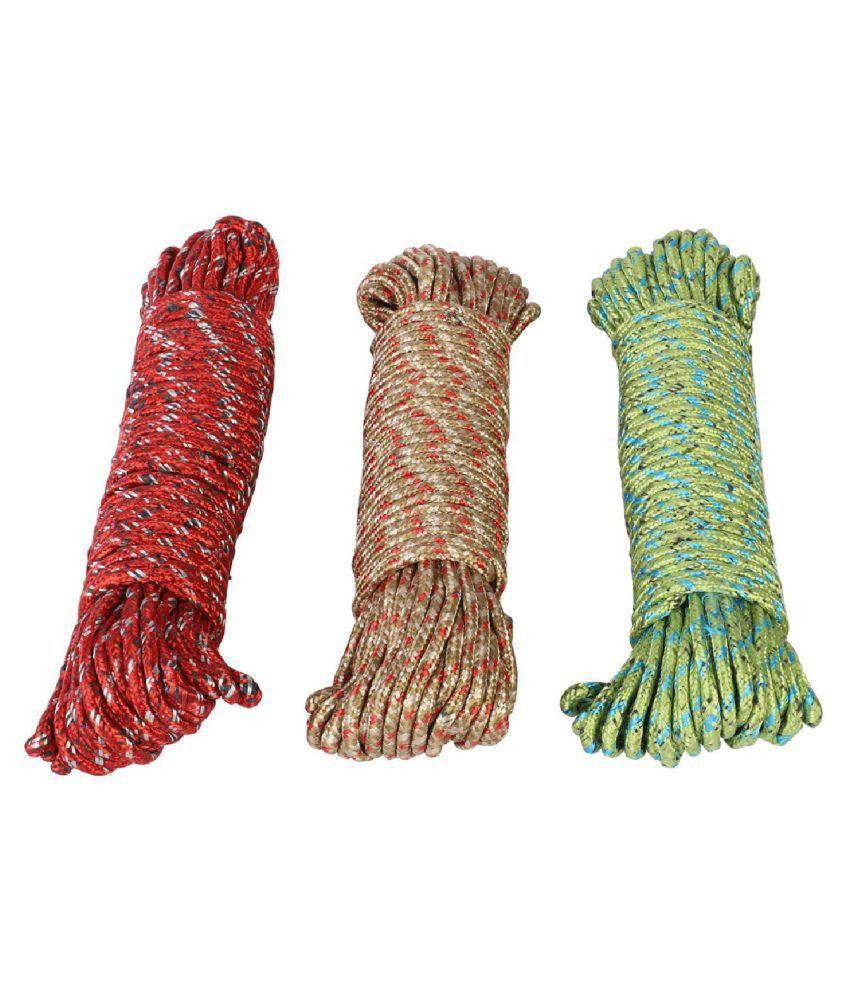 NFI essentials Clothes Nylon Braided Cotton Rope 20 meter Multicolour -3 Pieces