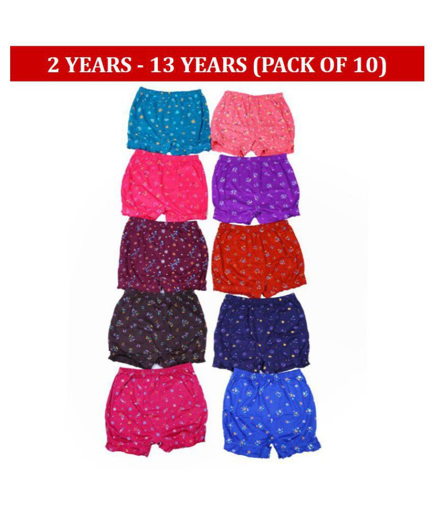 1ly Garments, Girls Printed Bloomer in Multicolored, pack of 10 pieces