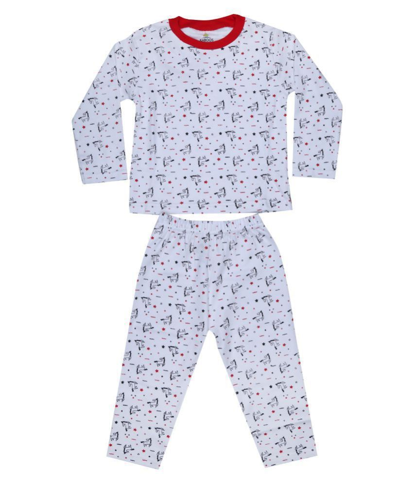 KABOOS WHITE AND RED COLOURED COTTON PRINTED NIGHT SUIT KIDS.