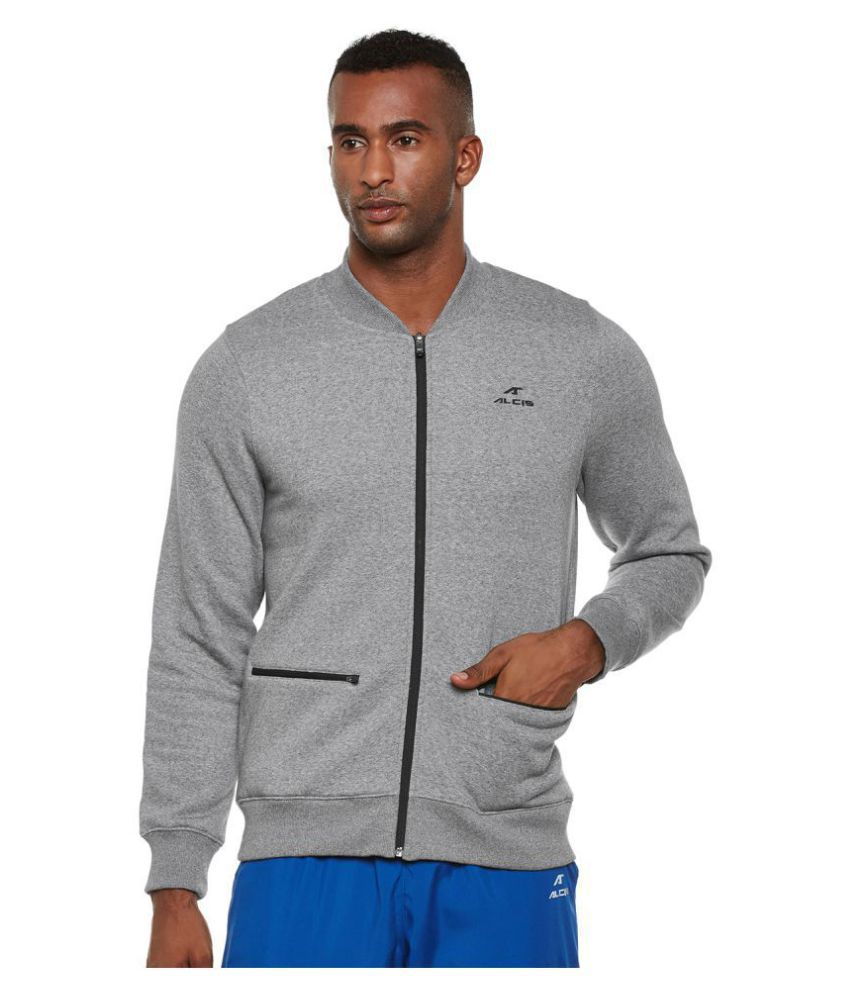 Alcis Grey Polyester Fleece Jacket
