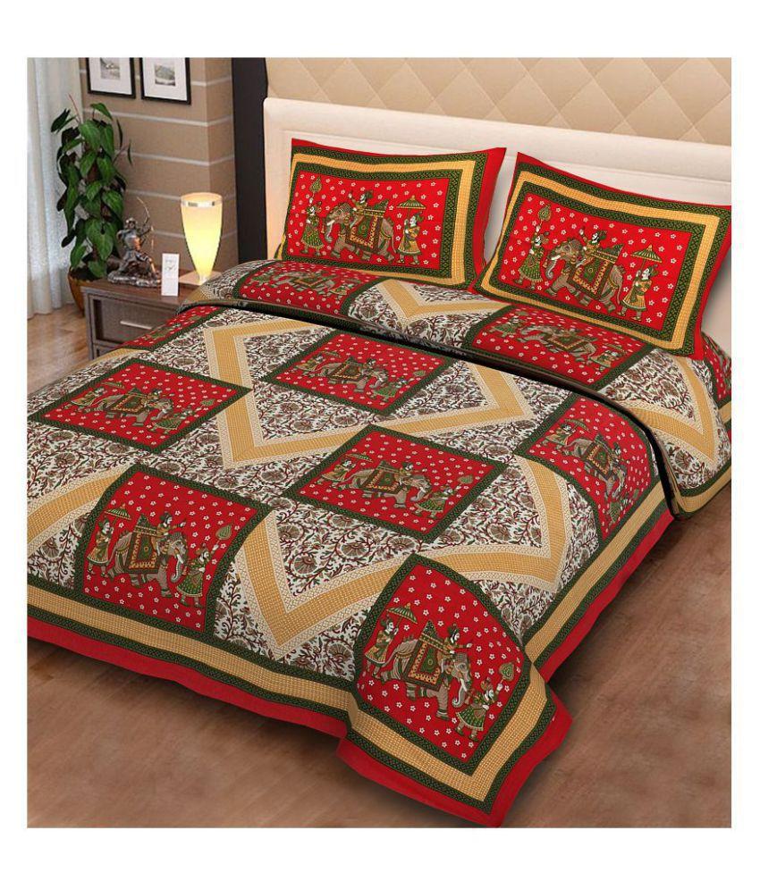 UniqueChoice Cotton Double Bedsheet with 2 Pillow Covers