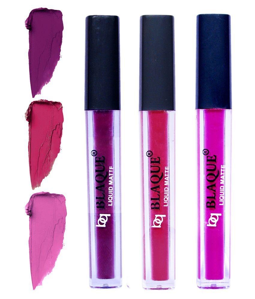bq BLAQUE Matte Lipstick Combo of 3 Lip Gloss Liquid Light Magenta Purple Pack of 3 12 mL