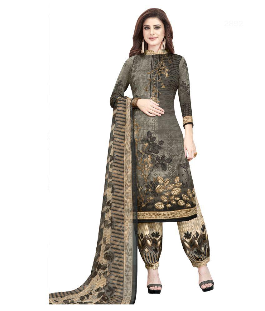 Salwar Studio Grey Synthetic Dress Material