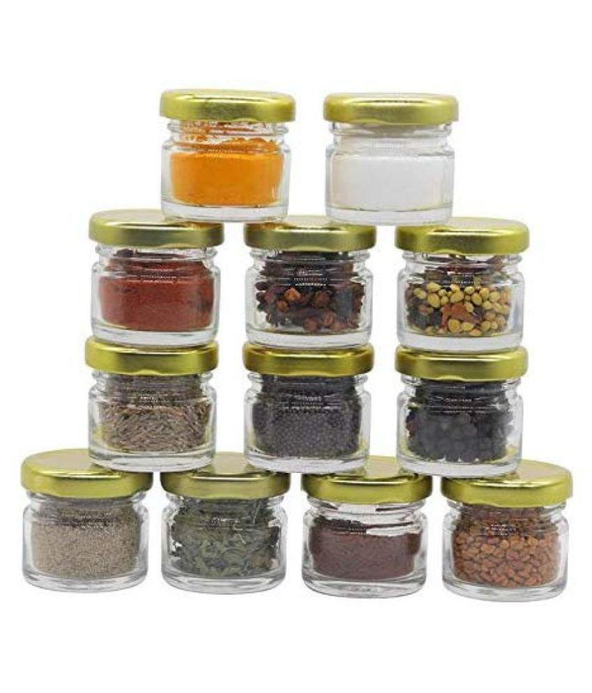 Glazzure Airtight Glass Jar Glass Spice Container Set of 12 30 mL