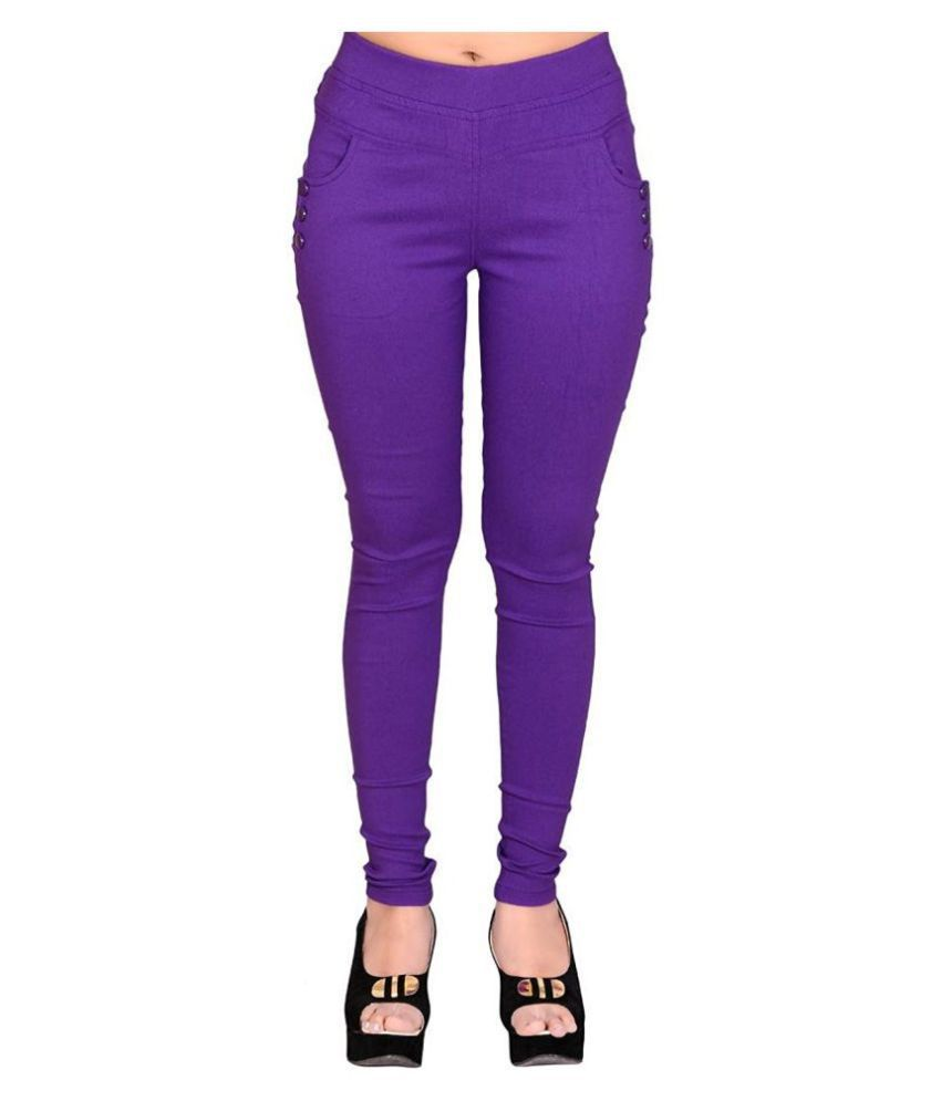 FeelBlue Poly Cotton Jeggings - Purple