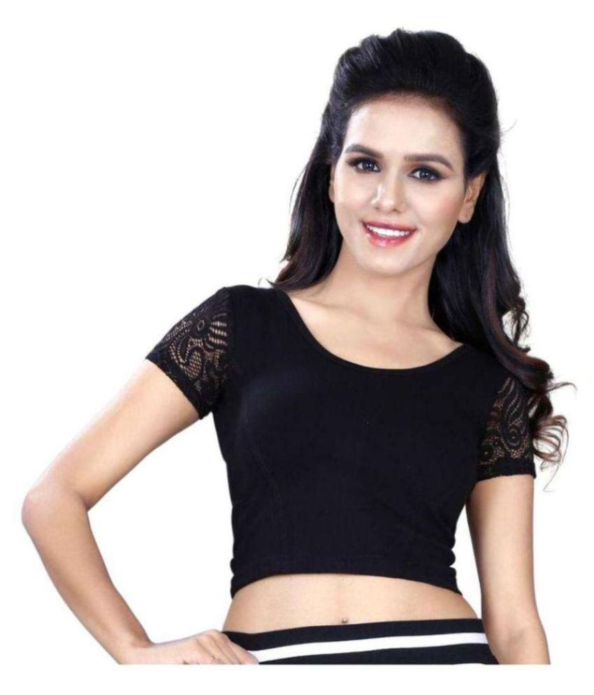 Wow Black Lycra Readymade without Pad Blouse