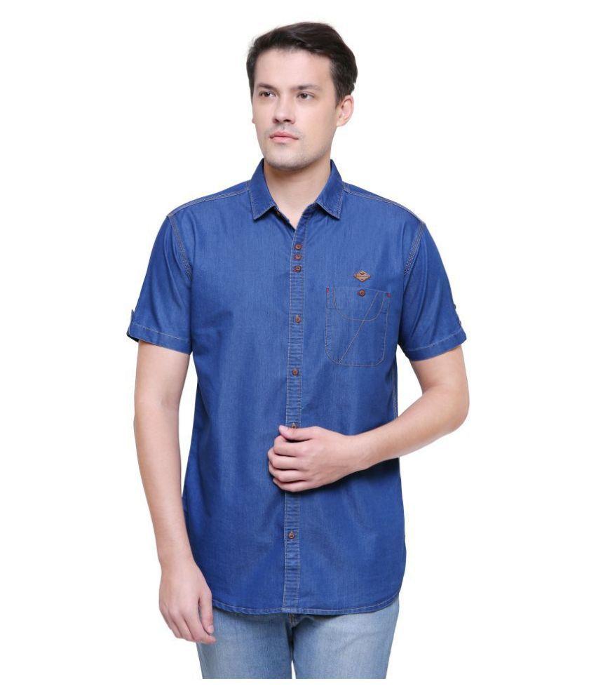 Kuons Avenue Denim Blue Solids Shirt