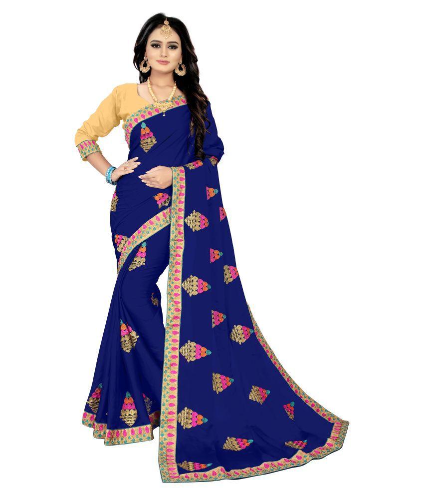 Guru alankar Blue Silk Blends Saree