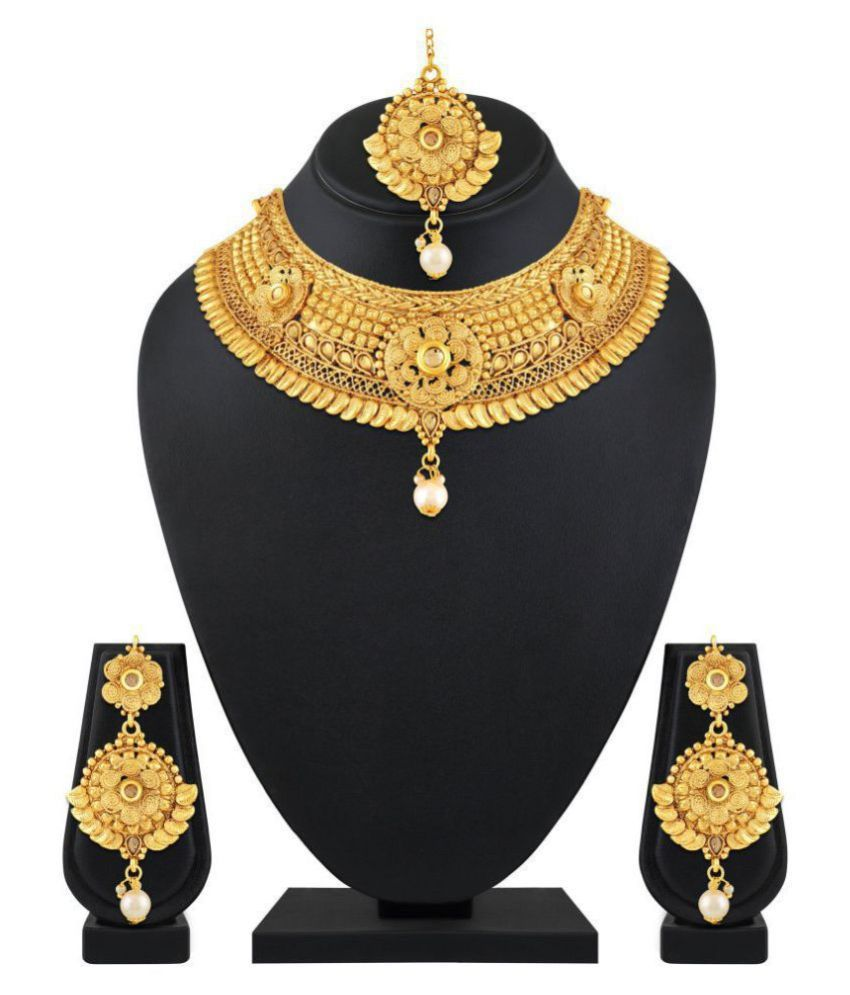 Asmitta Jewellery Zinc Golden Contemporary Traditional Gold Plated Necklaces Set