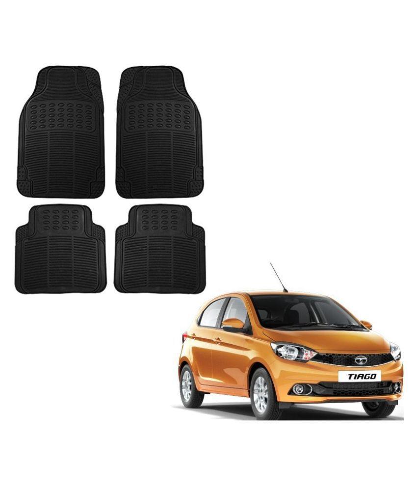 Auto Addict Car Simple Rubber Black Mats Set of 4Pcs For Tata Tiago