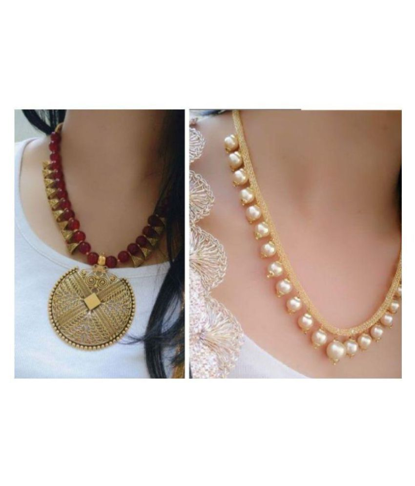 Darshini Designs Alloy Golden Collar Traditional Gold Plated Necklace set Combo