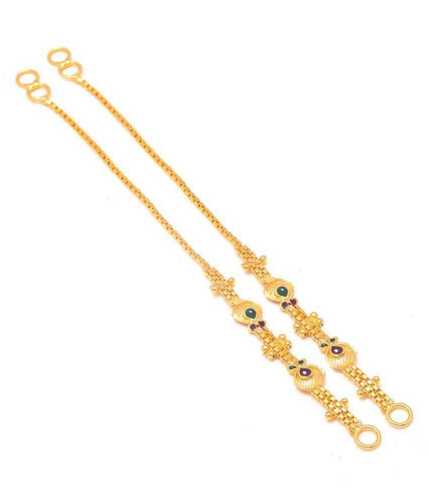 Jewar Mandi Earrings Gold Plated Ear Chain Jewelry 7771