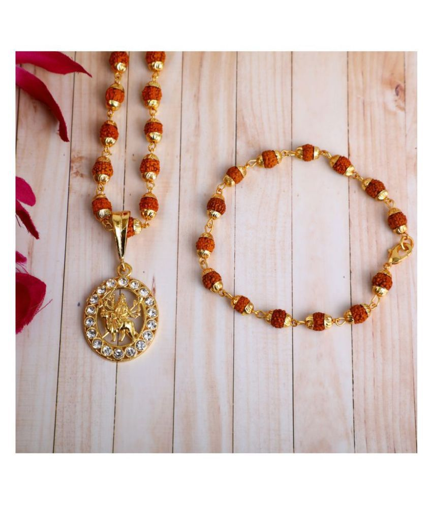 DIPALI Imitation Rudraksh Mala With BRACLET Gold Plated JAY AMBE MA Inspired Pendant Set For Men BoyS