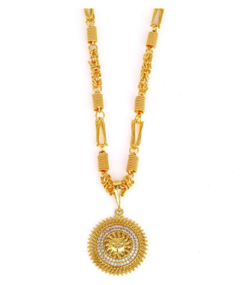Dipali Stainless Pendant Chain Gold Plated Necklace For Men Boys