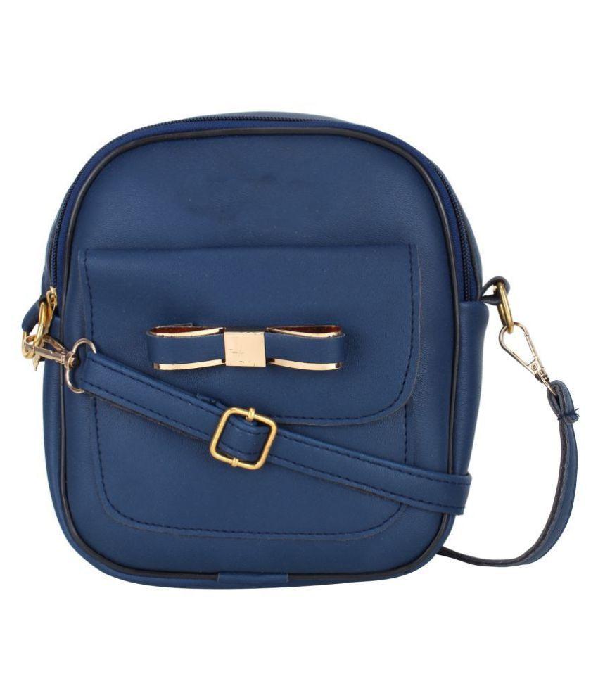 Ratan's Blue P.U. Sling Bag