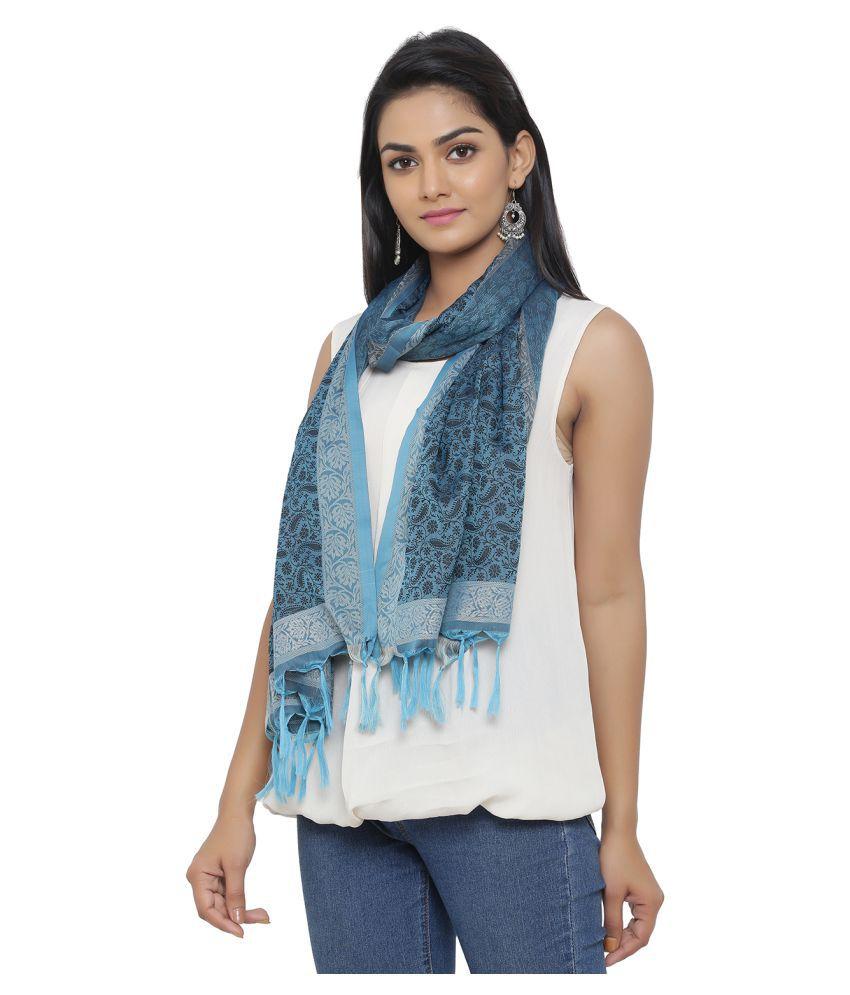 JABAMA Turquoise Printed Polyester Stoles