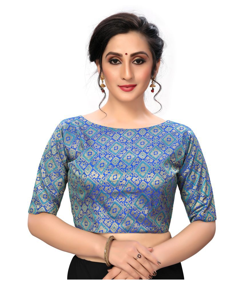 Shubh Sanidhya Blue Silk Semi Stitched Blouse