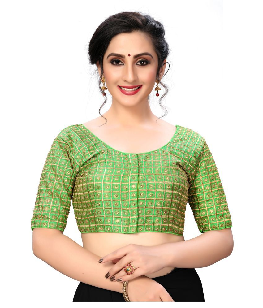 Shubh Sanidhya Green Silk Semi Stitched Blouse