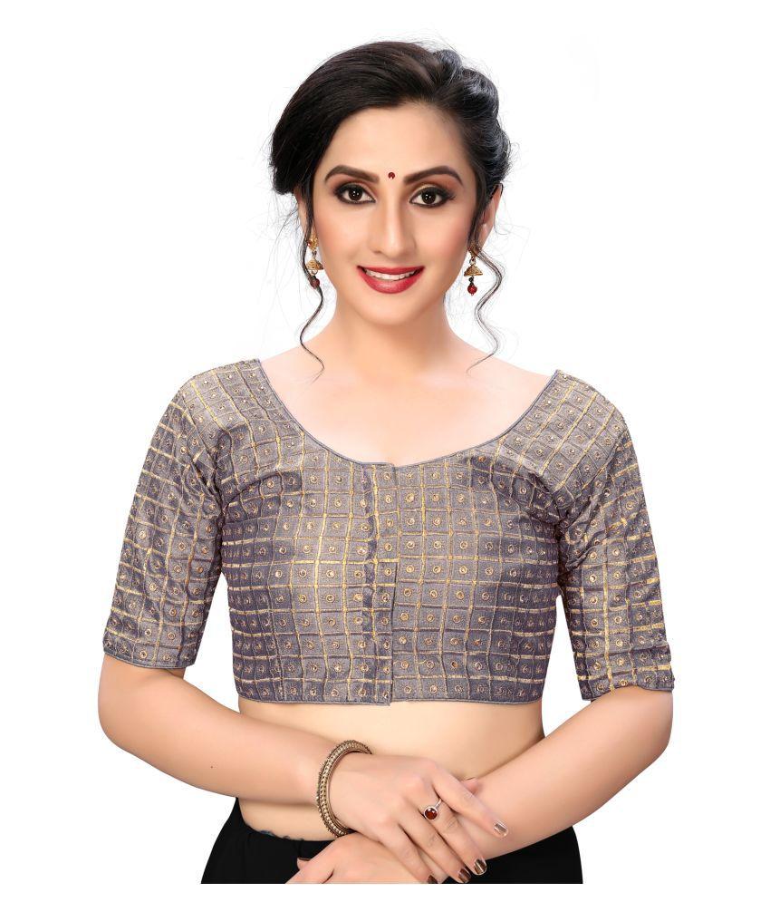 Shubh Sanidhya Grey Silk Semi Stitched Blouse