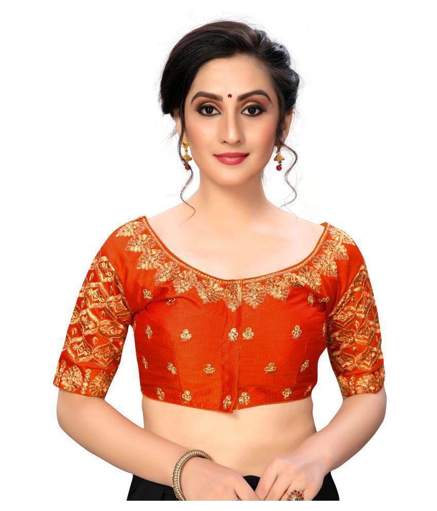 Shubh Sanidhya Orange Silk Semi Stitched Blouse