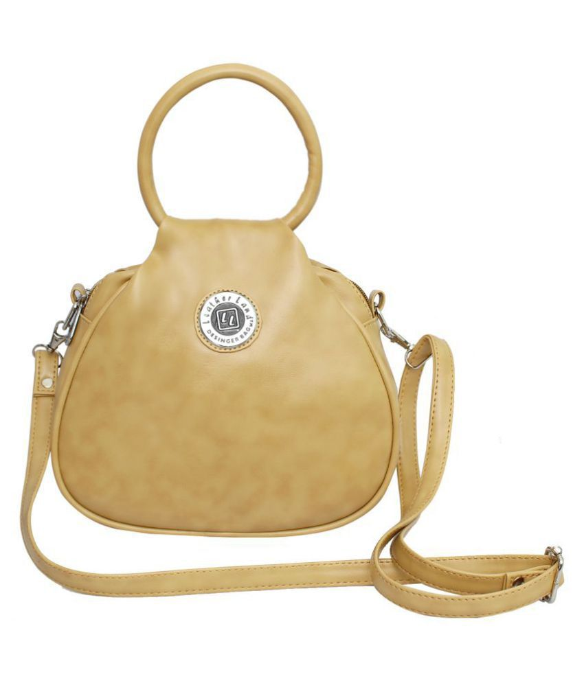 Leather Land Cream Faux Leather Sling Bag