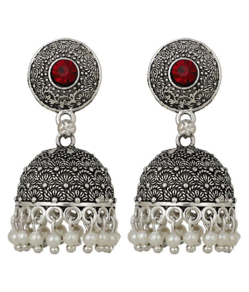 Piah Beautiful Oxidised Red stone Silver Plated Jhumka Earrings Brass Jhumki Earring
