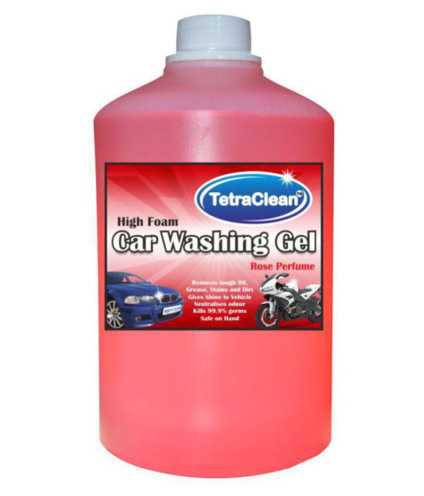 Tetraclean High Foam Car Shampoo Car Washing Liquid   Car and Bike Shampoo, Auto Specialty Shampoo for vehicals Rose Scented  1 L