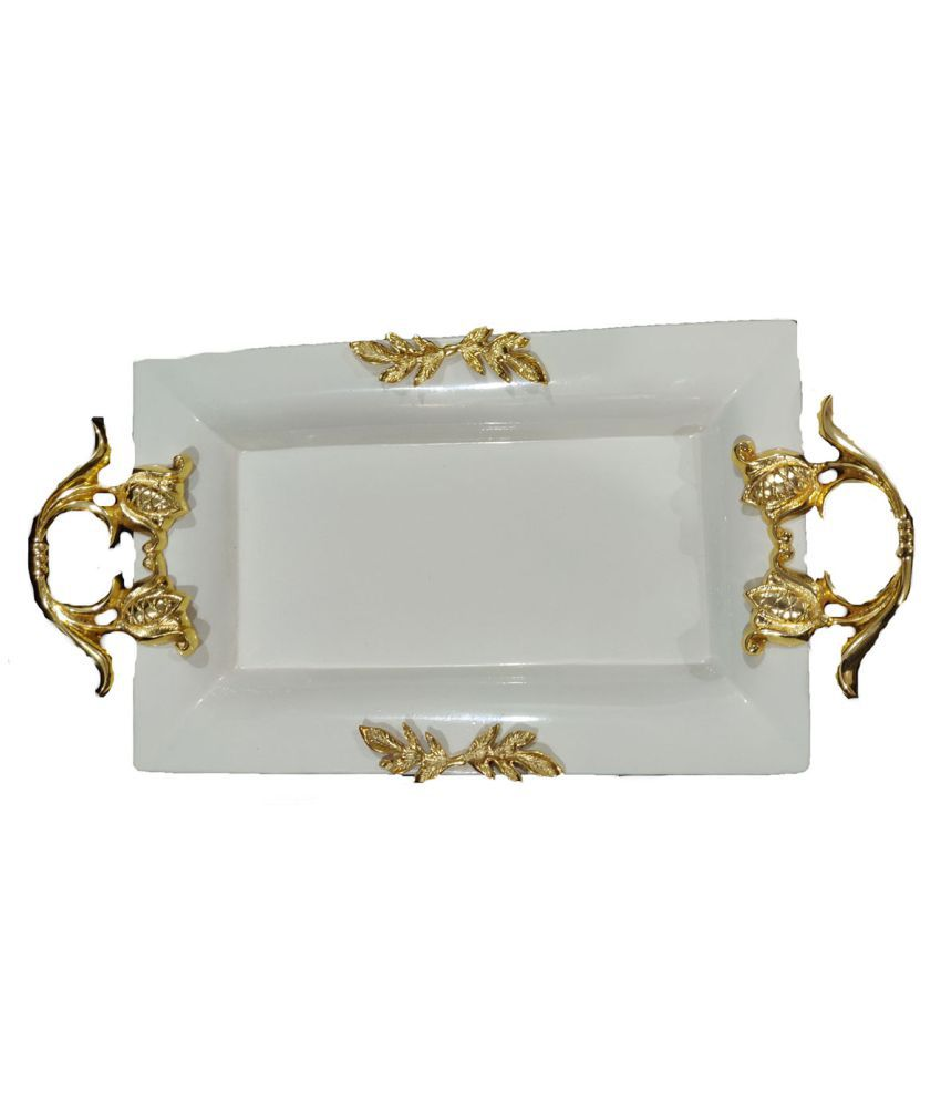 Aluminium Tray Rectangle Shape Platter with Gold & Nickel Plating Handle