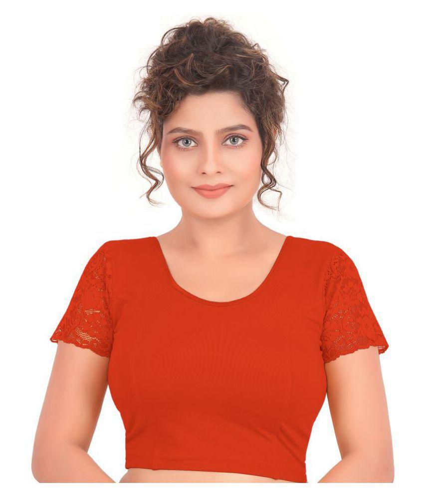 Atulya Designer Blouse Orange Lycra Readymade without Pad Blouse