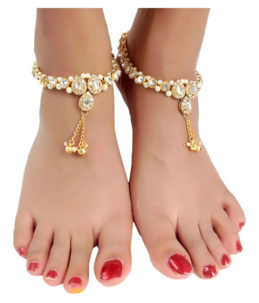 Womensky Traditional Gold Plated Pair Of Anklet For Women