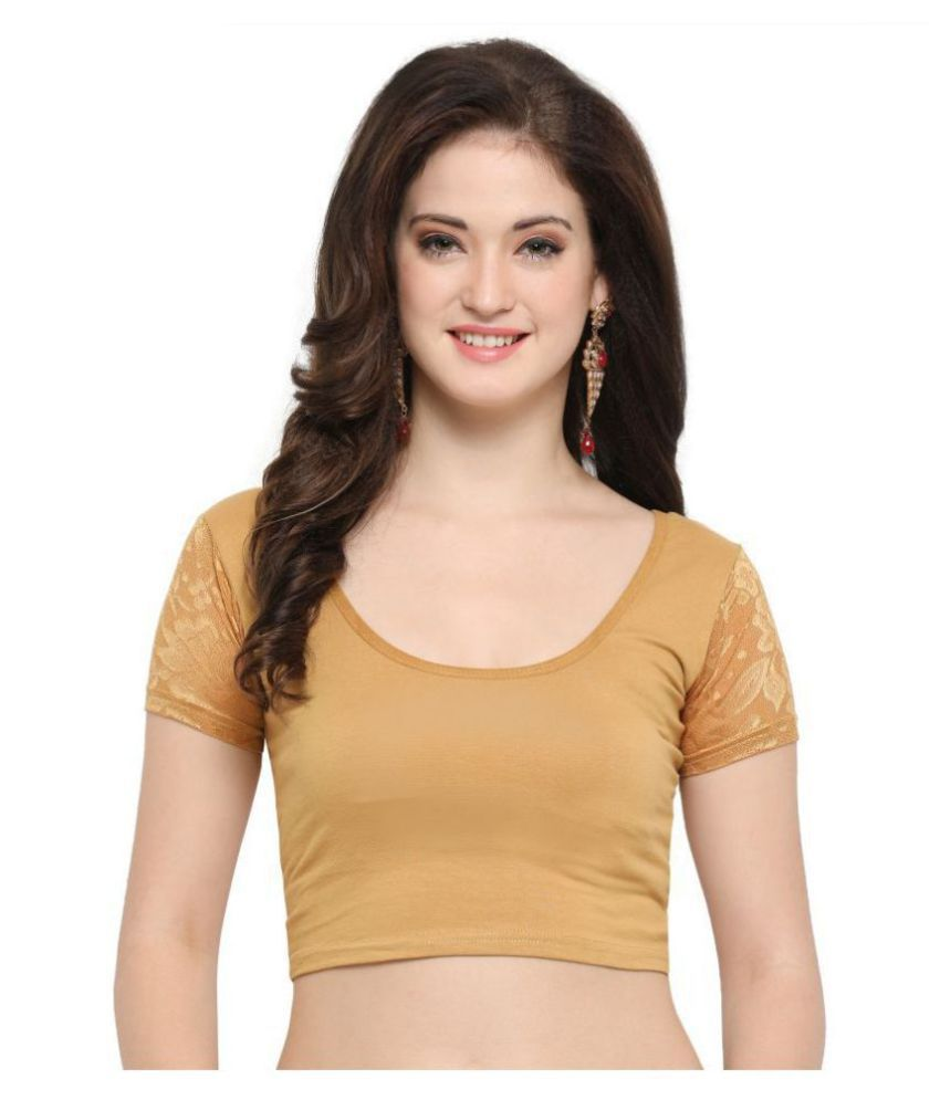 Janasya Beige Lycra Readymade without Pad Blouse