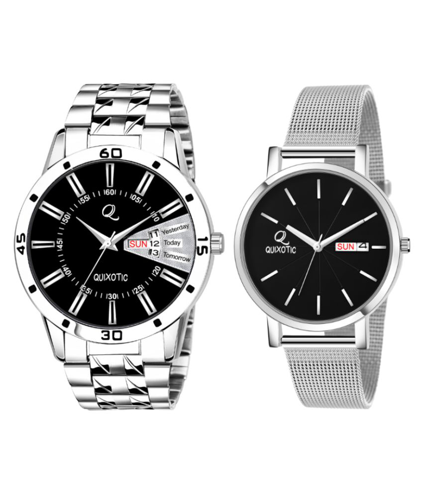 Stunning Black Dial Day-Date Functioning Analog Watch - For Couple