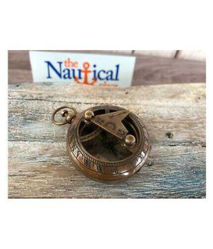 Old Vintage Antique Pocket Style Brass Sundial Compass Necklace Pendant