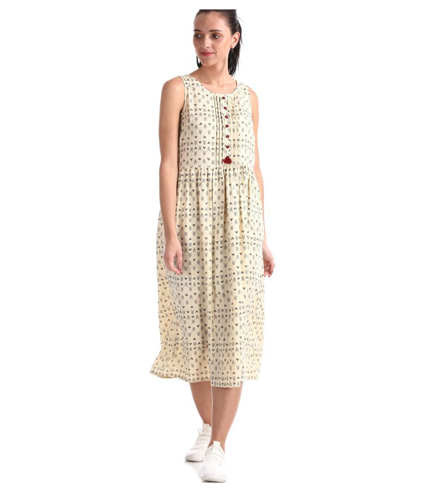 BRONZ Rayon Beige Fit And Flare Dress