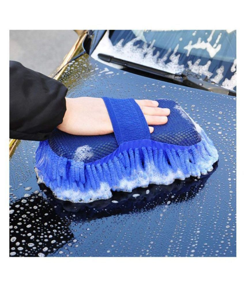 JAYRAGH UNIQUE INDIA Washing Sponge With Microfiber Washer Towel Duster For Cleaning Car. Bike Vehicle Sponge Hand Gloves