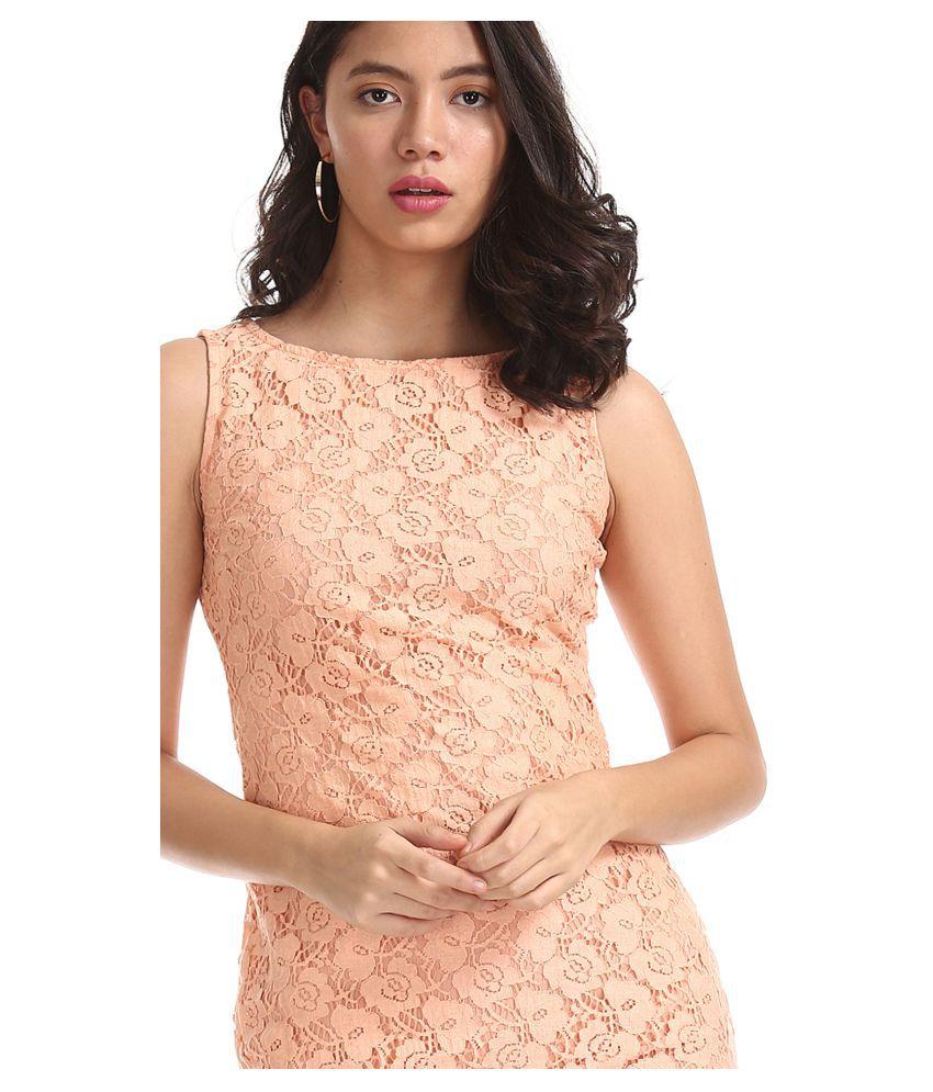 Sugr Nylon Orange Shift Dress