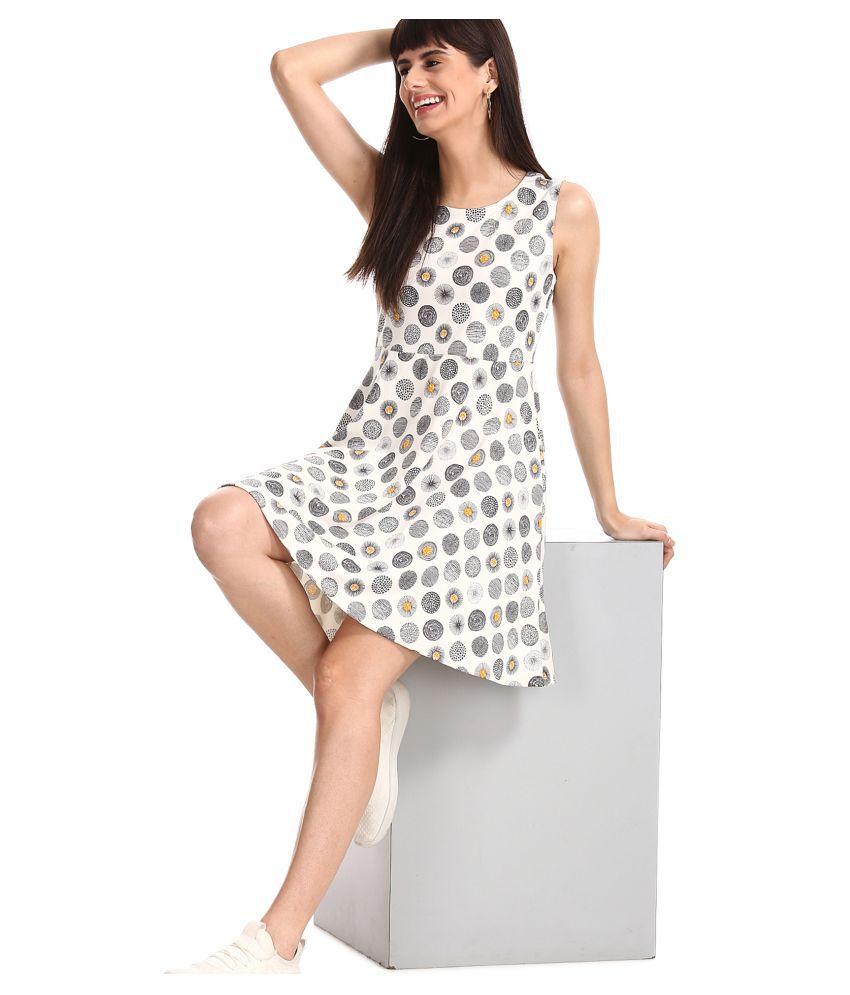 Sugr Polyester White Skater Dress