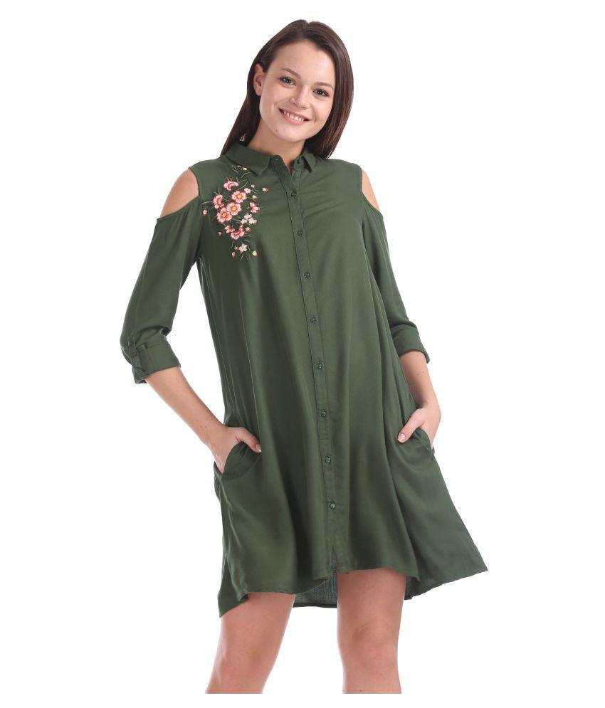 Sugr Rayon Green Shirt Dress
