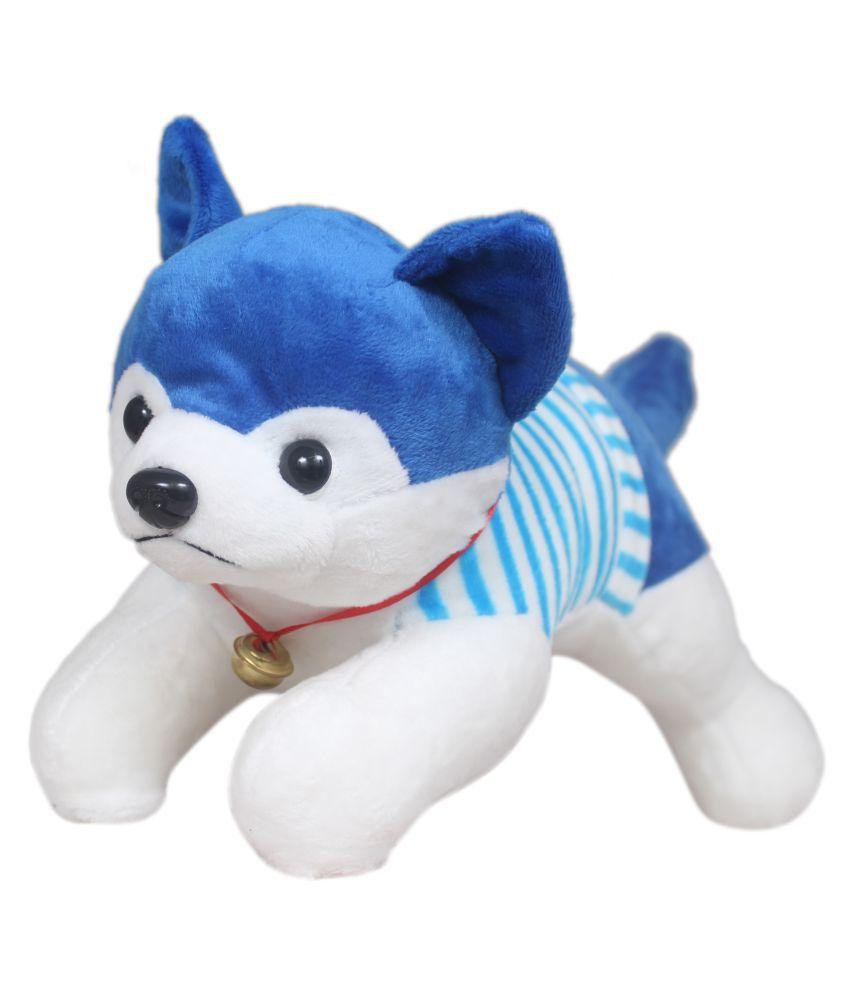 Tickles Blue Cute Soft Dressed Laying Husky Dog 32 cm